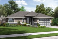 Front Rendering of Mascord House Plan 1169ES - The Modern Ranch