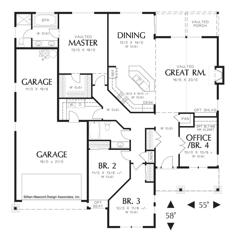House plans one story open floor plan for House plans co