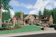 Front Rendering of Mascord House Plan 1233 - The Cainsville
