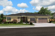 Front Rendering of Mascord House Plan 1245 - The Riverside