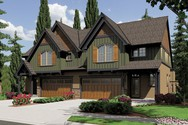 Front Rendering of Mascord House Plan 4038-Unit B - The Hawthorn