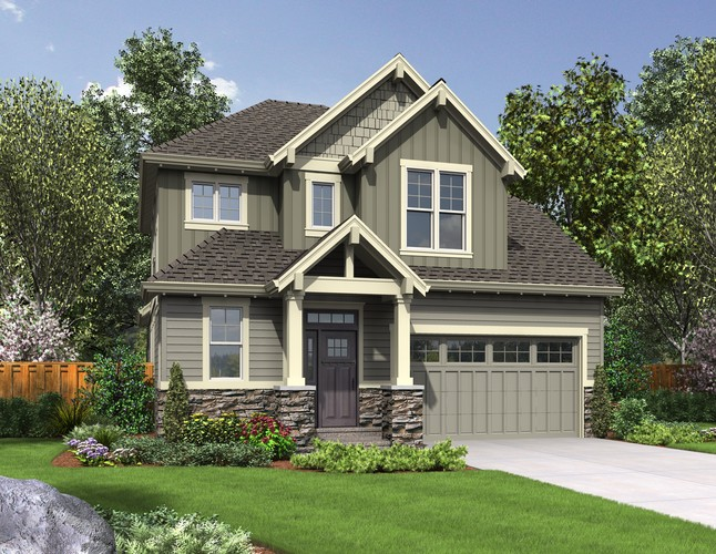 The willowcreek craftsman home plan lives large for Narrow lot house plans with front garage