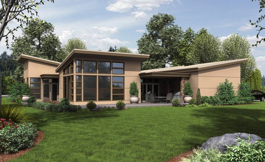 Contemporary Ranch House Plan Maximizes Square Footage With A Unique