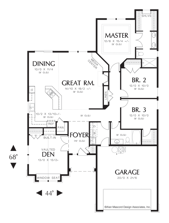 Image for Granville-Craftsman Style Cottage Plan-Main Floor Plan