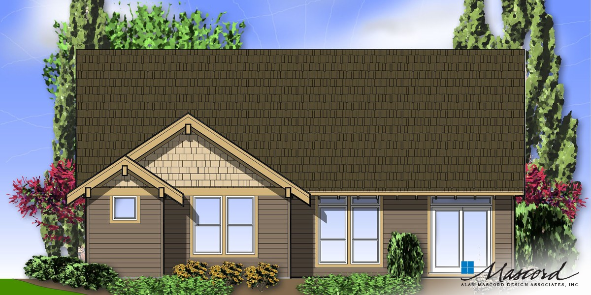 Image for Granville-Craftsman Style Cottage Plan-Rear Rendering