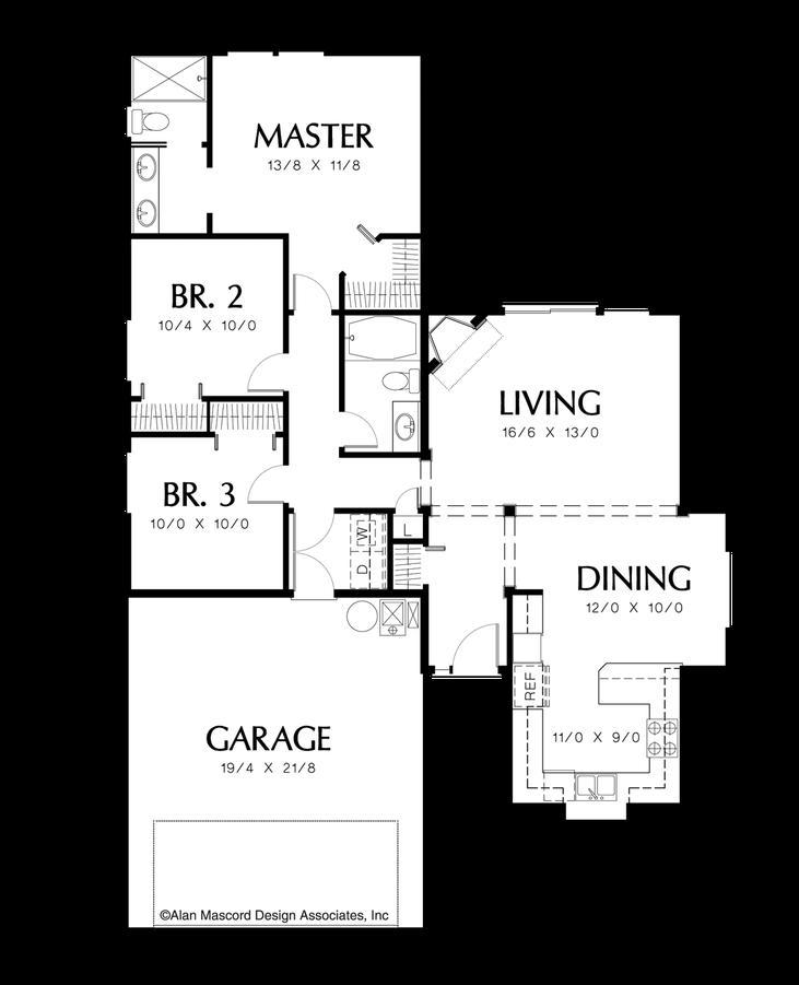 Ranch house plan 1110 the parker 1271 sqft 3 beds 2 baths for Parker house designs