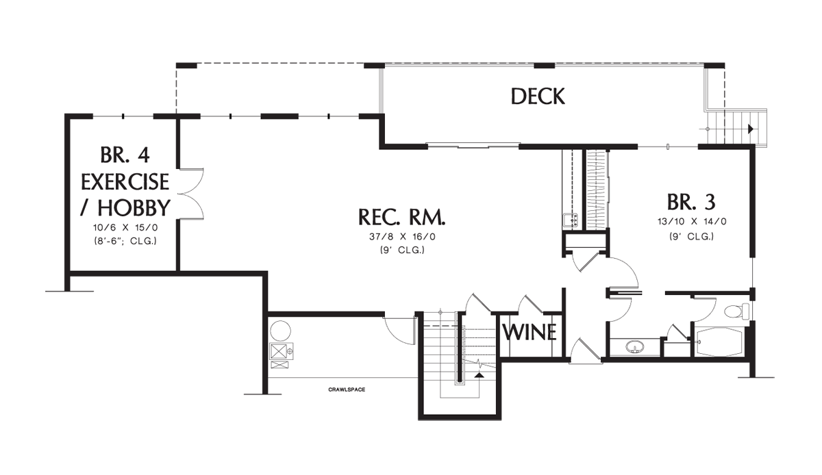 House plan details plan 1144ea the tumalo Sloped lot house plans walkout basement