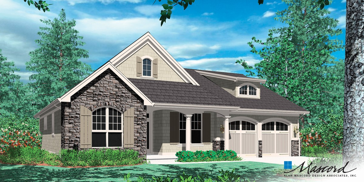 Image for Godfrey-Craftsman Plan with Porch-Front Rendering