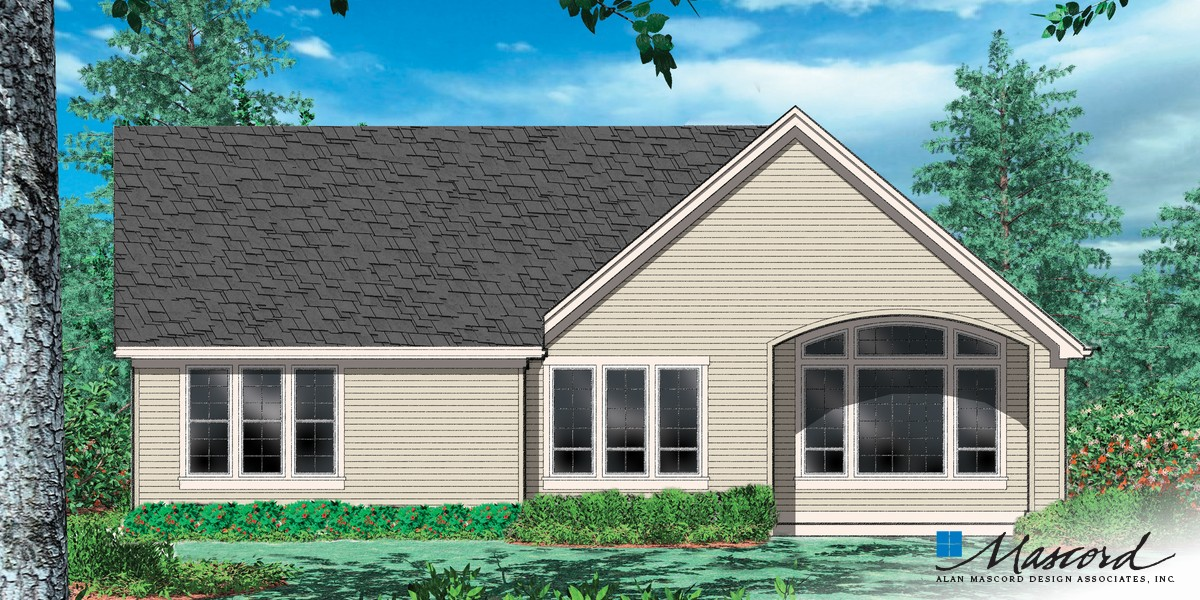 Image for Godfrey-Craftsman Plan with Porch-Rear Rendering