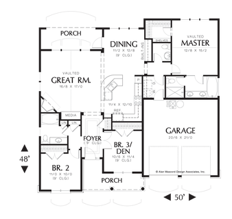 Image for Godfrey-Craftsman Plan with Porch-Main Floor Plan