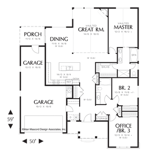 Image for Morton-Craftsman Plan with High Ceilings and Covered Porch-Main Floor Plan