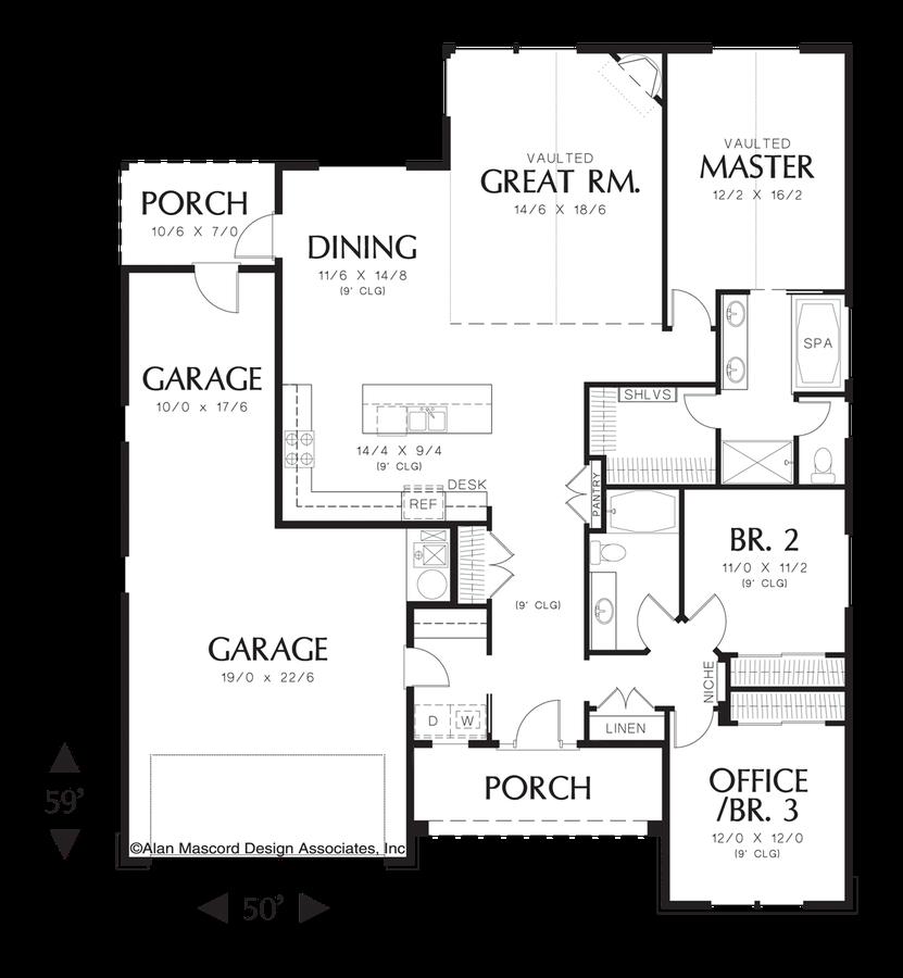 Cottage House Plan 1152 The Buckner: 1797 Sqft, 3 Beds, 2