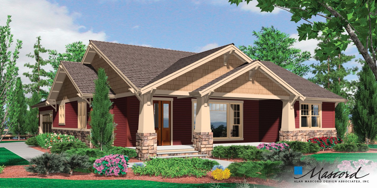 Image for Ellington-3 Bedroom Craftsman Plan with Spacious Feel-Front Rendering