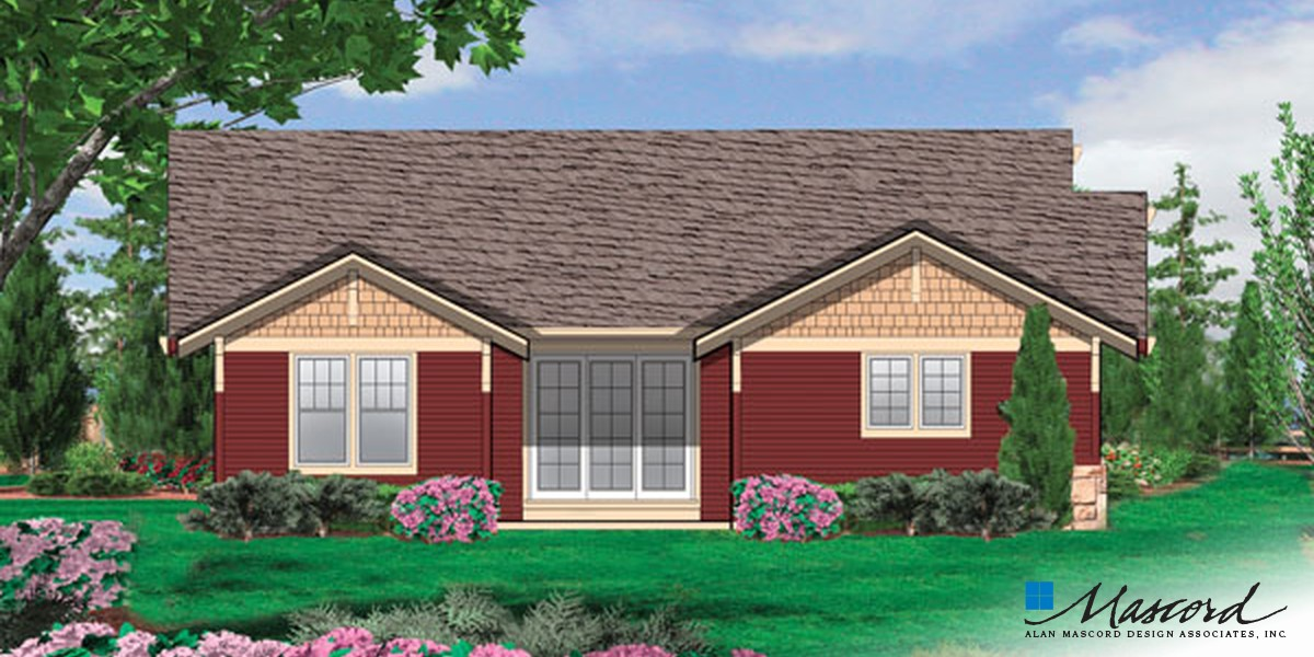 Image for Ellington-3 Bedroom Craftsman Plan with Spacious Feel-Rear Rendering