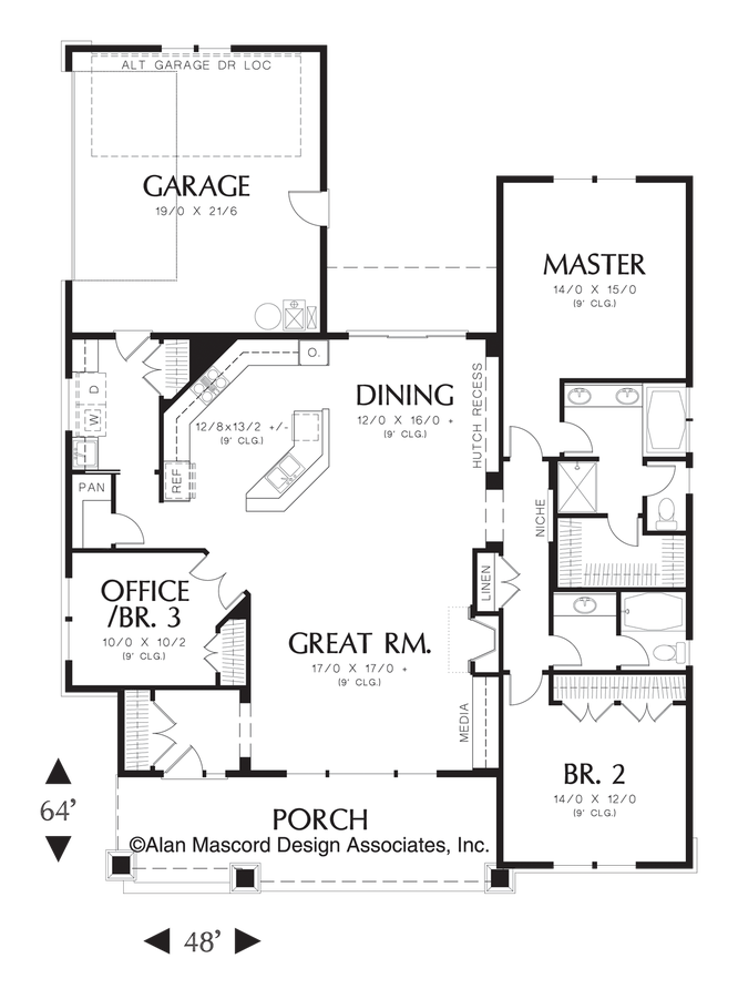 Image for Ellington-3 Bedroom Craftsman Plan with Spacious Feel-Main Floor Plan