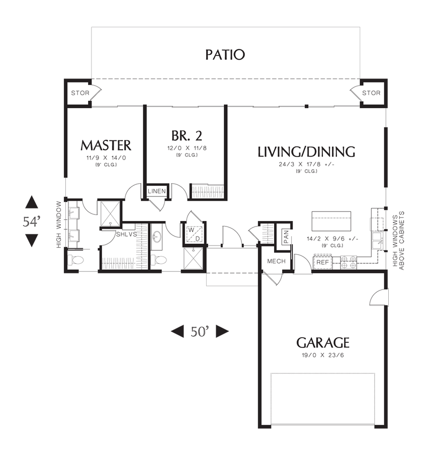 Contemporary house plan 1160a the galway 1286 sqft 2 for Grow room design plans