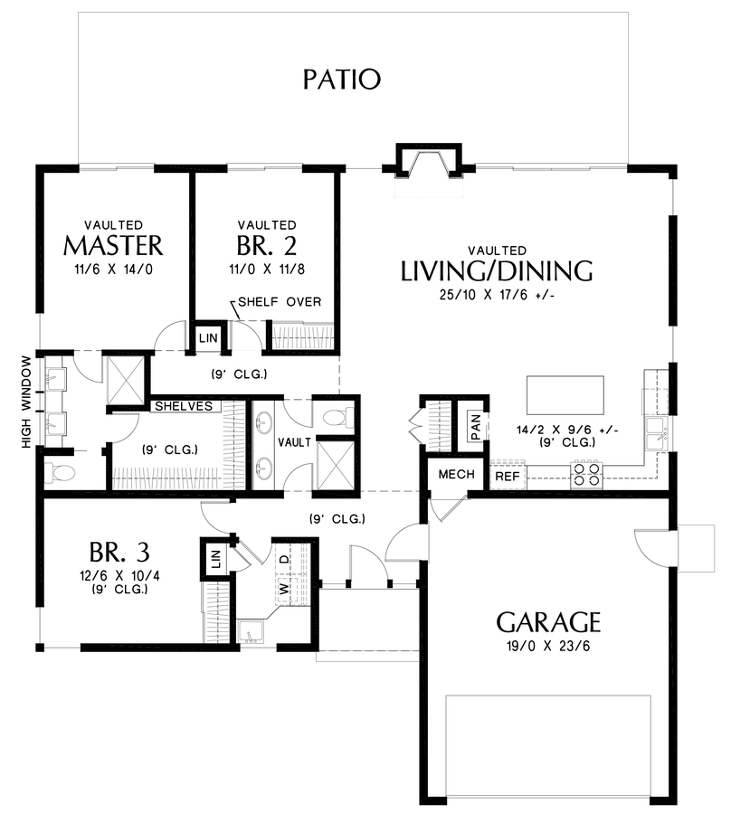 Contemporary House Plan 1161b The Cascade Lake 1624 Sqft 3 Beds 2 Baths