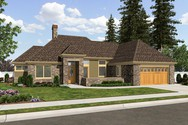 Front Rendering of Mascord House Plan 1163B - The Oxenhope
