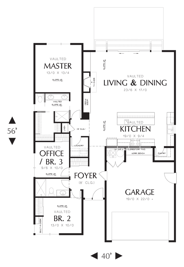 Image for Park Place-Narrow contemporary home designed for efficiency.  Excellent Outdoor connection-Main Floor Plan