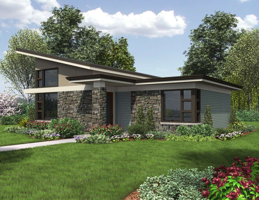 Contemporary home plan beach inspired style the dunland Contemporary house plans one story