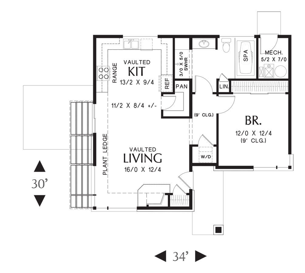 Mascord house plan 1166 the dunland for Modern beach house floor plans