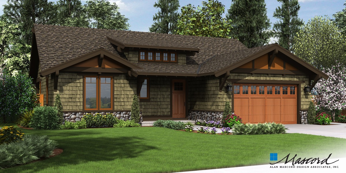 Image for Pasadena-Wonderful compact Craftsman Ranch-Front Rendering