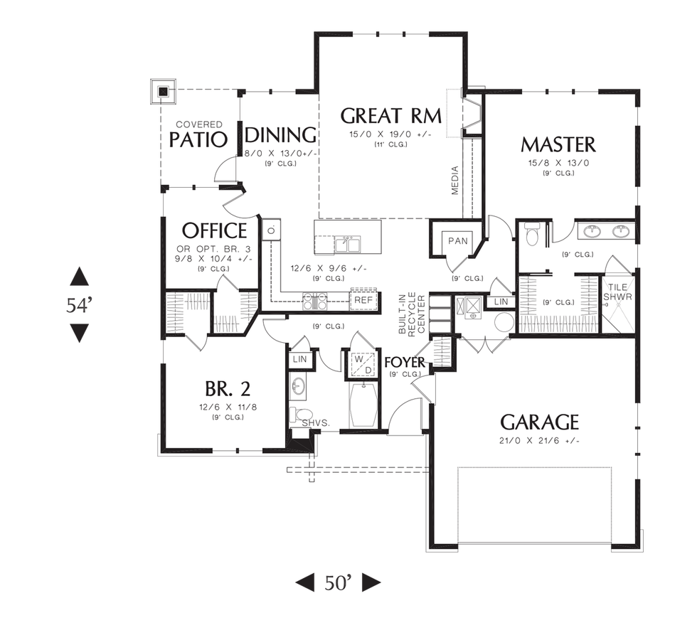 Image for Pasadena-Wonderful compact Craftsman Ranch-Main Floor Plan