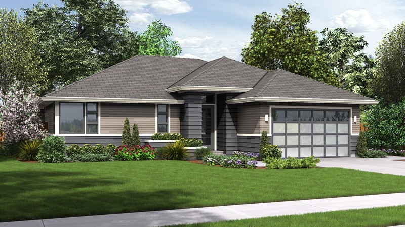 Mascord House Plan 1169ES - The Modern Ranch