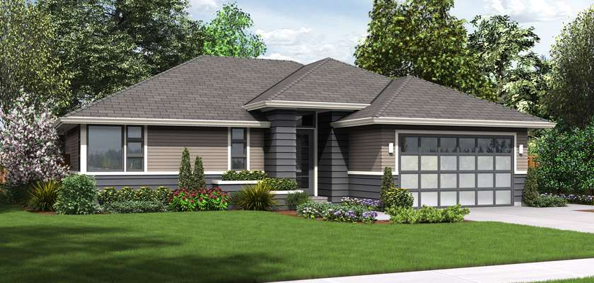 Mascord House Plan 1169ES: The Modern Ranch
