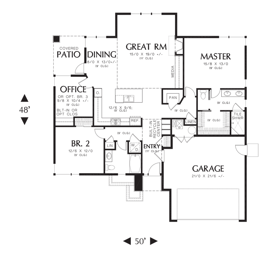 House plan 1169es the modern ranch Modern ranch floor plans