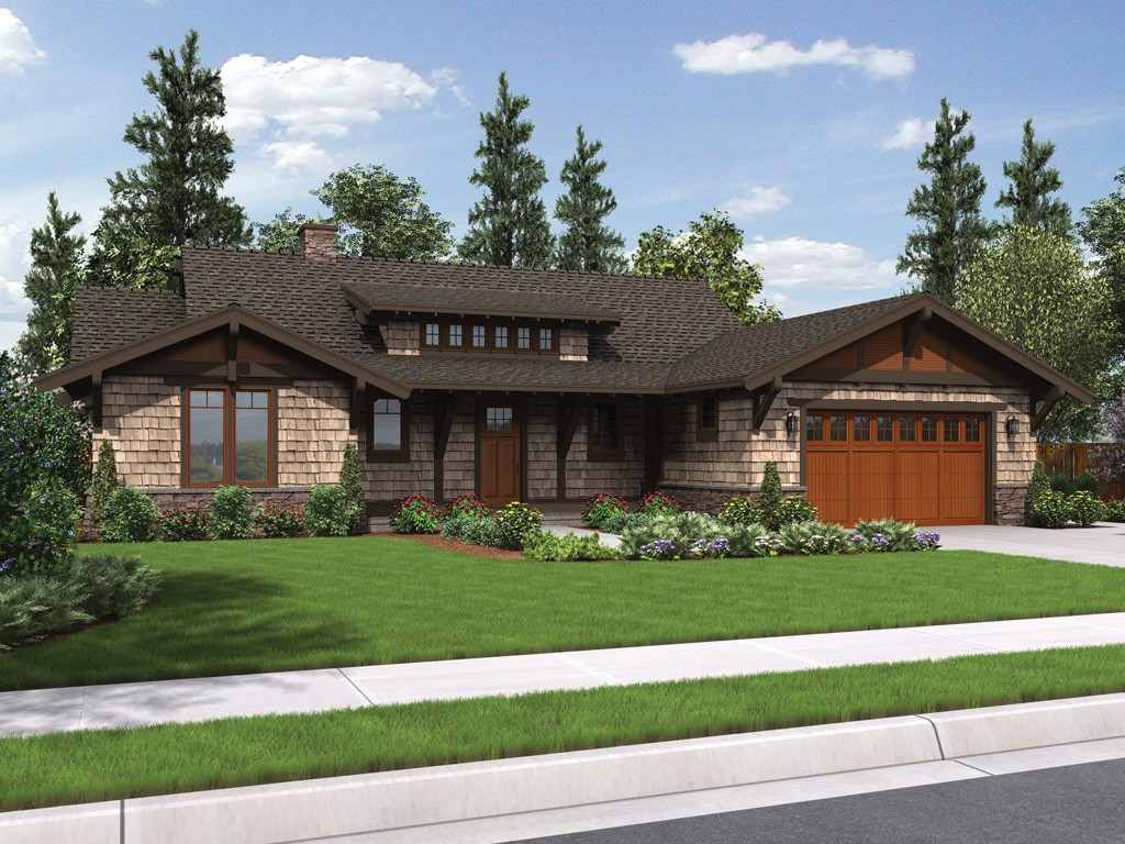 The meriwether craftsman ranch house plan for Single level ranch house plans