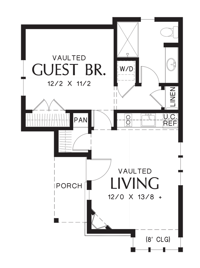 European house plan 1173 the mirkwood 544 sqft 1 for Tiny house with main floor bedroom