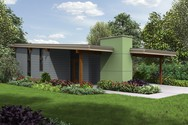 Front Rendering of Mascord House Plan 1175 - The Perrydale