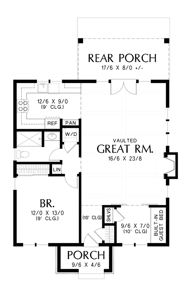 Image for Cecil-Guest Cottage, Vacation Home or Compact Living - This Plan is Perfect in Any Case-Main Floor Plan