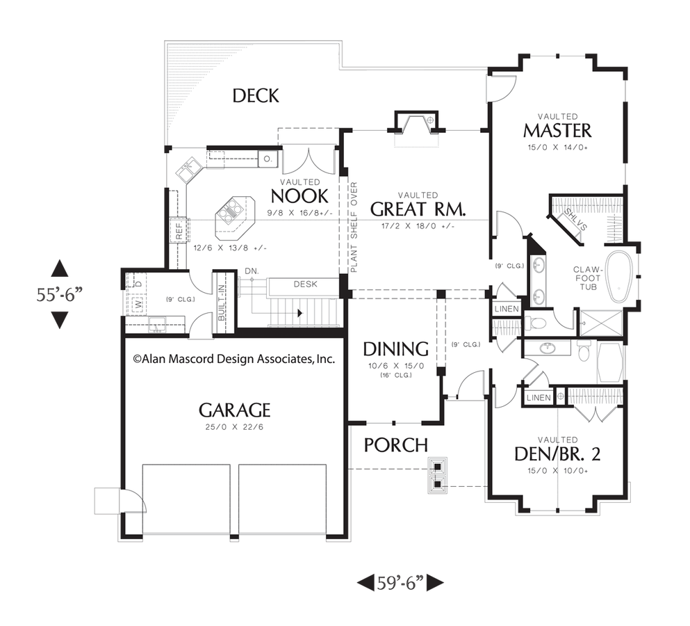 Craftsman House Plan 1201J The Dawson: 2964 Sqft, 4 Beds
