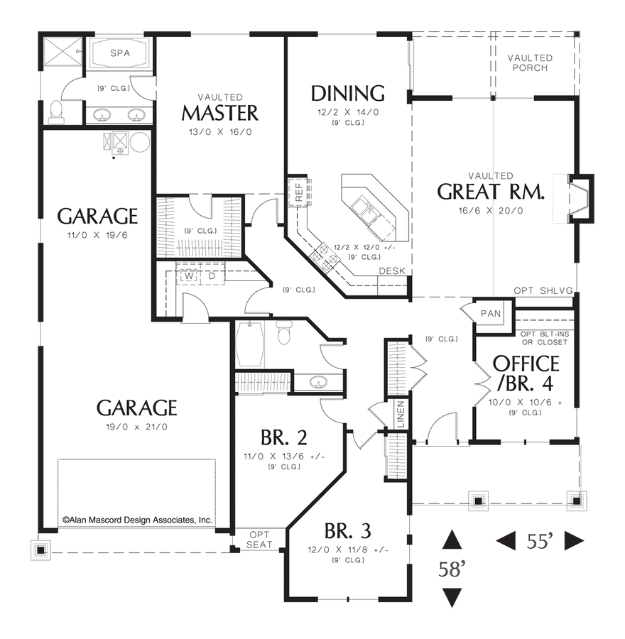 mascord house plan 1231fa the sutton image for sutton vaulted single story plan with open great room main floor plan