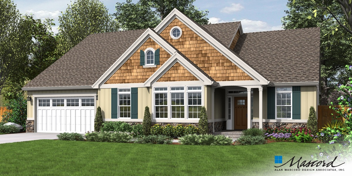 Image for Galen-Traditional Plan with Fireplace and Media Center-Front Rendering