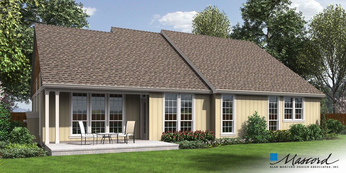 Image for Galen-Traditional Plan with Fireplace and Media Center-Rear Rendering