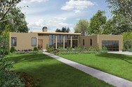Front Rendering of Mascord House Plan 1241 - The Boston