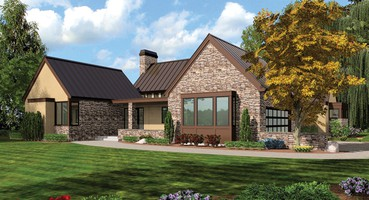 The Saxon Single Story House Plans 1242  | The Saxon: Single Story House Plans with Farmhouse Layout