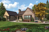 Front Rendering of Mascord House Plan 1242 - The Saxon