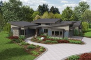 Front Rendering of Mascord House Plan 1242A - The Caprica