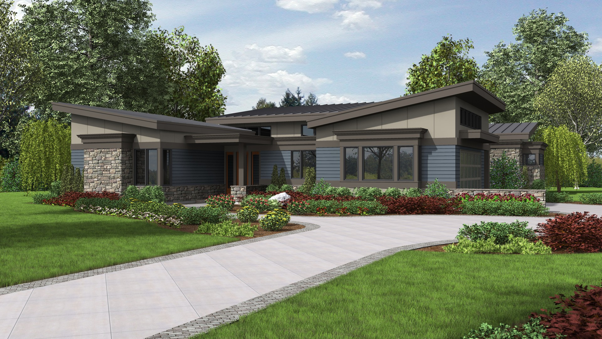 Mascord house plan 1242a the caprica for Mid century modern home designs