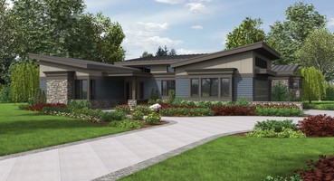 The Caprica  | <b>1. <a href='https://houseplans.co/house-plans/1242a'>The Caprica</a></b> - This house plan has all the hallmarks of a midcentury modern home. Each bedroom features large windows that allow plenty of light, while the grand hall features a wall of windows overlooking the back porch. With gently sloping rooflines and plenty of stonework, the exterior of the Caprica is visual feast.   | 4 Home Plans with the Midcentury Modern Look