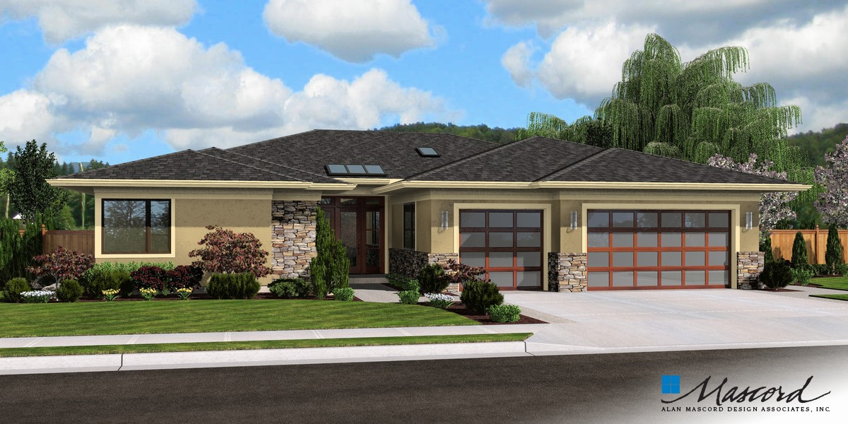 lovely riverside house plans #1: Image for Riverside-Modern Plan with Open Layout-Front Rendering