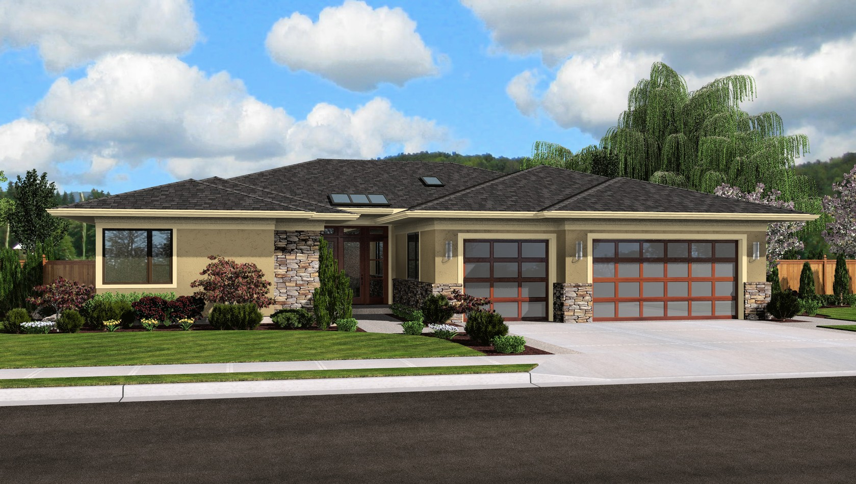 Contemporary house plan 1245 the riverside 2334 sqft 4 - Single story 4 bedroom modern house plans ...