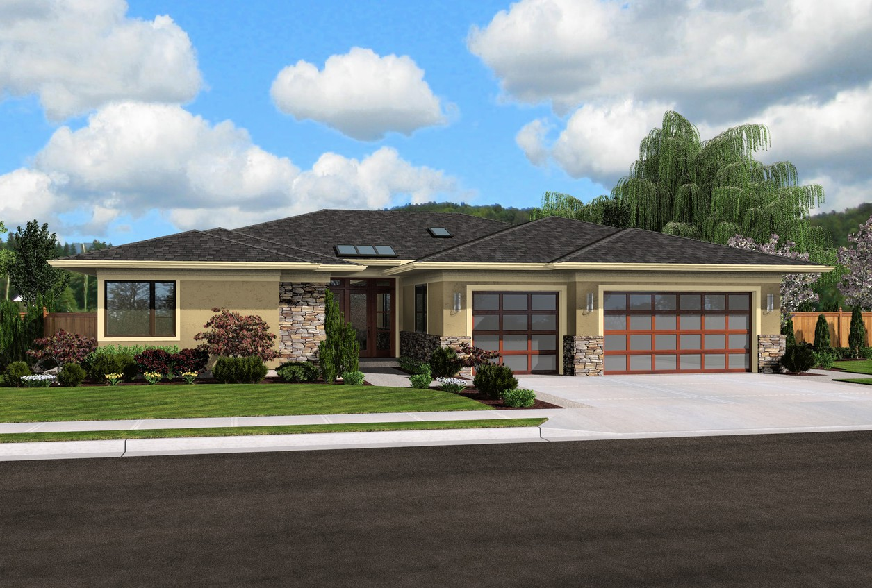 House plan 1245 the riverside - Single story 4 bedroom modern house plans ...