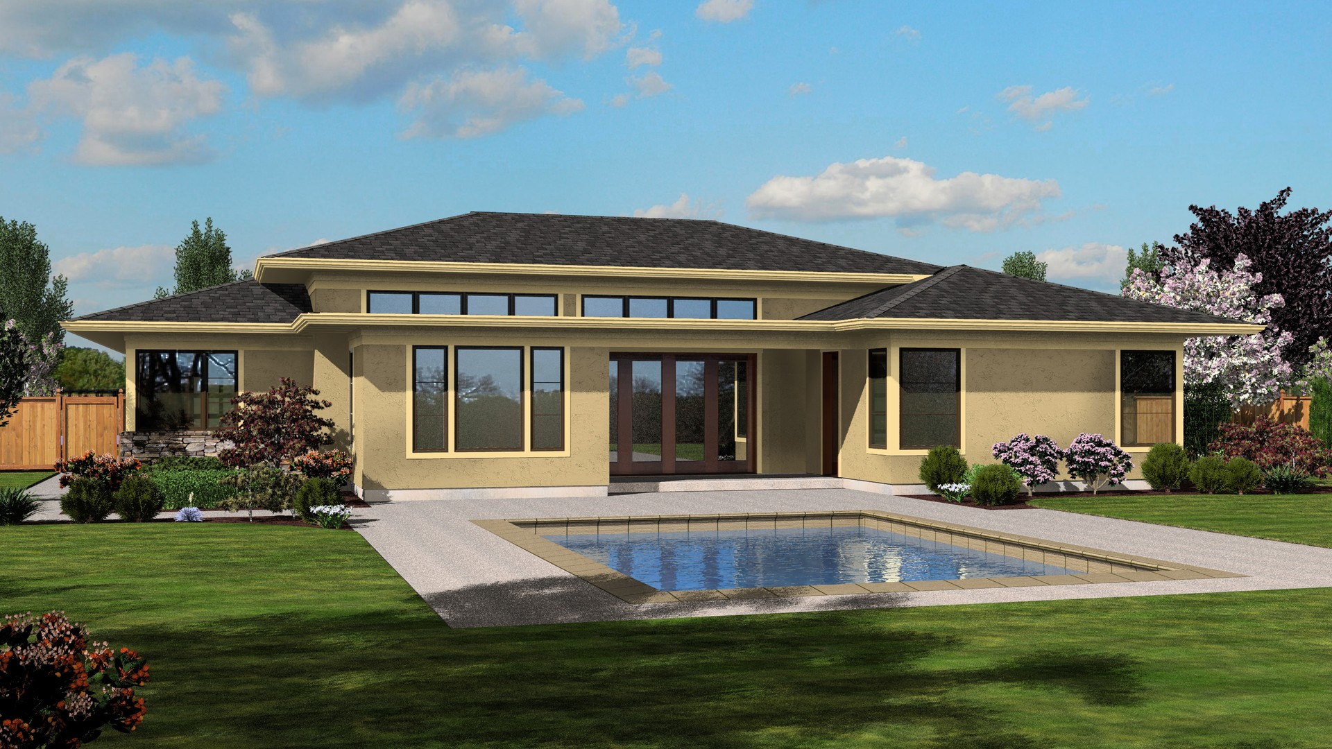 Contemporary house plan 1245 the riverside 2334 sqft 4 for Roof designs for ranch homes