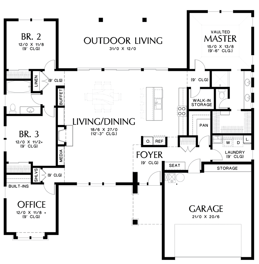 Image For Baines Flexible And Amenity Rich Mid Century Modern Plan Main  Floor Plan