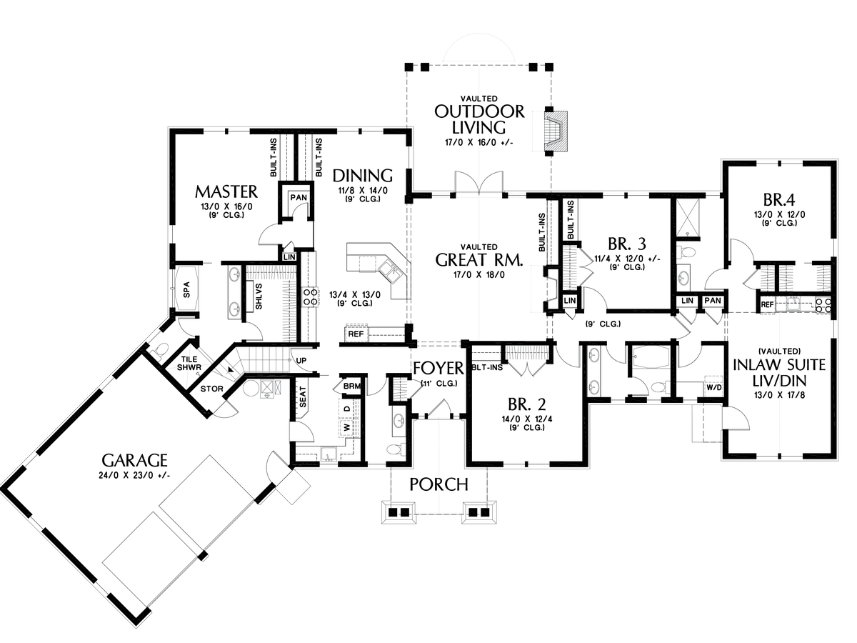 Craftsman house plan 1248a the bishop 2801 sqft 4 for Floor plans for in law suite addition